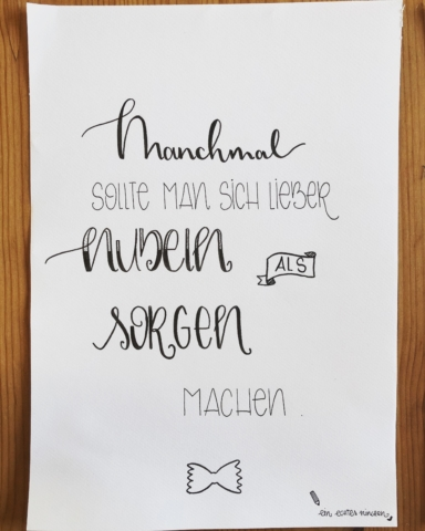 Handlettered Quote - Nudeln