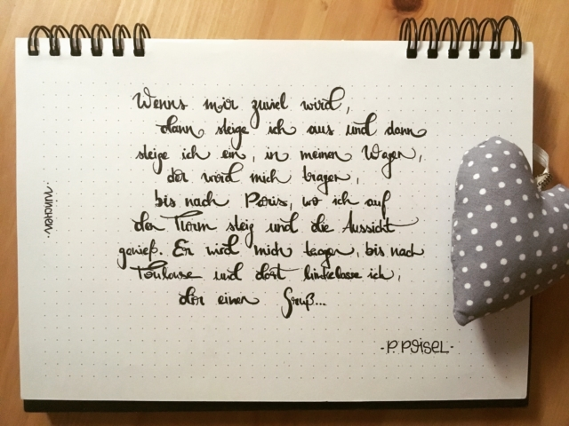 Handlettered Songtext - Bis nach Toulouse, P. Poisel